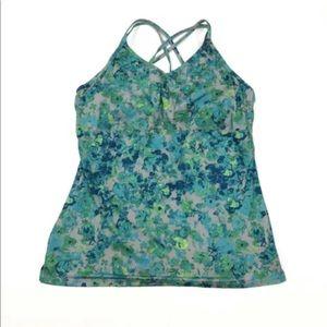 REI Sariska Tunic Blue Green Floral Yoga Top